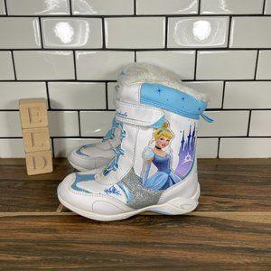 Cinderella Girls White Blue Disney Faux Fur Snow Boots Size US 10 M